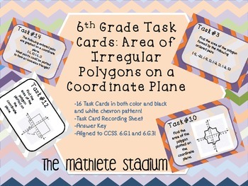 6th Grade Geometry: Polygons in the Coordinate Plane Task Cards CCSS 6.G.3