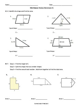 6th Grade Geometry Review Worksheets (to supplement Eureka Module 5)