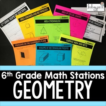 6th Grade Geometry Stations : Middle School Math Stations