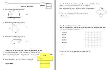 6th Grade Geometry Summative Assessment - Common Core Aligned