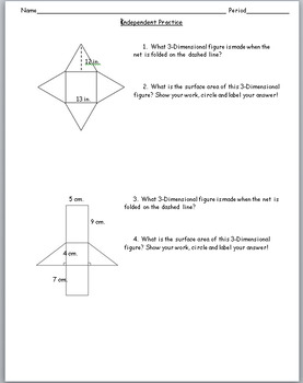 6th Grade Geometry:  Surface Area of Prisms Unit - Bundle
