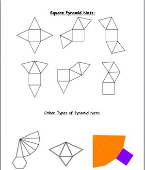 6th Grade Geometry:  Surface Area of Square Pyramids
