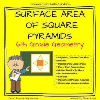 6th Grade Geometry: Surface Area of Square Pyramids
