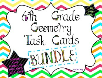 6th Grade Geometry Task Cards Bundle ~CCSS 6.G.1, 6.G.2, 6.G.3, 6.G.4