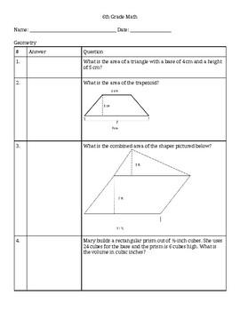 6th Grade Geometry Test