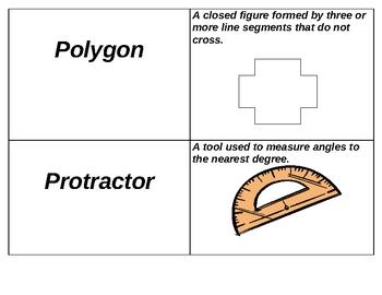 6th Grade Geometry Vocabulary Cards