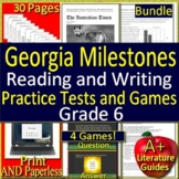 6th Grade Georgia Milestones Reading and Writing BUNDLE! Tests and Games