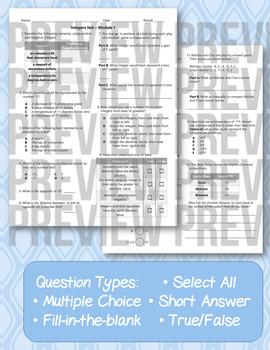 6th Grade Go Math Module 1 Test - Integers, Opposites, Absolute Value [EDITABLE]