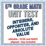 6th Grade Go Math Module 1 Test - Integers, Opposites, Abs