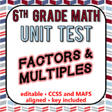 6th Grade Go Math Module 3 Test - Rational Numbers [EDITABLE]