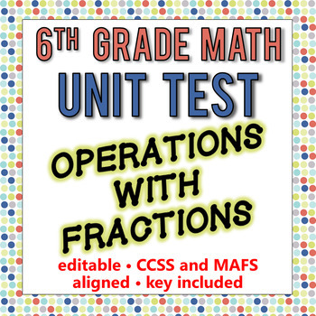 6th Grade Go Math Module 4 Test - Operations with Fractions [EDITABLE]
