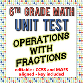 6th Grade Go Math Module 4 Test - Operations with Fraction