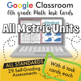 6th Grade Math Task Cards for Google Classroom™ ⭐ ALL METRIC UNITS ⭐ Digital