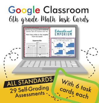 6th Grade Google Classroom Math Task Cards, Auto-Graded Task Cards, Digital