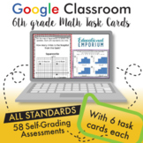 Google Classroom Math Task Cards ⭐ 6th Grade ⭐ AUTOMATICALLY GRADED