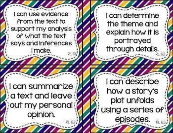 6th Grade Grade ELA I Can Statements for CCSS Standards (Jewel Tone Stripes)