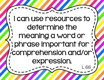 6th Grade Grade ELA I Can Statements for CCSS Standards (Rainbow Stripes)