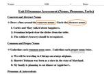 6th Grade Grammar Assessment - Nouns, Pronouns, Verbs