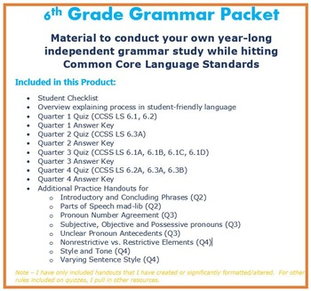 6th Grade Grammar - COMPLETE Unit hitting Common Core Language Standards