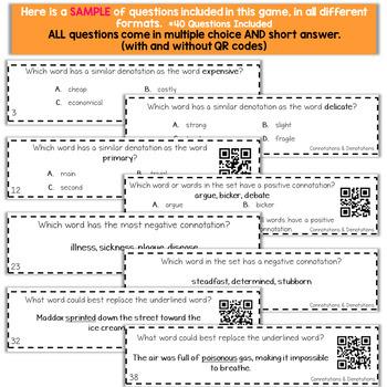 6th Grade Grammar Game | Connotation & Denotation