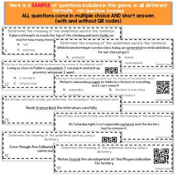 6th Grade Grammar Game | Context Clues Game