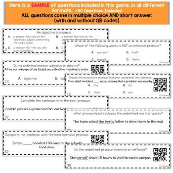 6th Grade Grammar Game   Subjective, Objective, Possessive, Intensive Pronouns