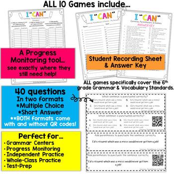 6th Grade Grammar Games 6th Grade Grammar Review BUNDLE
