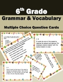 6th Grade Grammar & Vocabulary-Multiple Choice Question Fun Cards