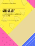 6th Grade Guided Reading Lesson Template