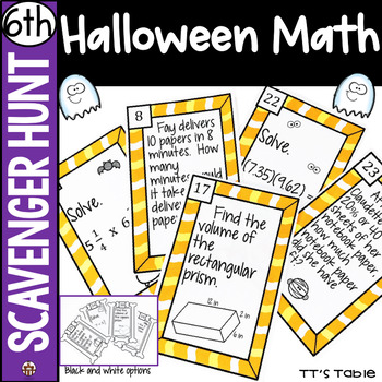 6th Grade Halloween Math Scavenger Hunt