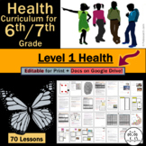 6th Grade Health for Middle School / 7th Grade Health for Jr. High: Level 1