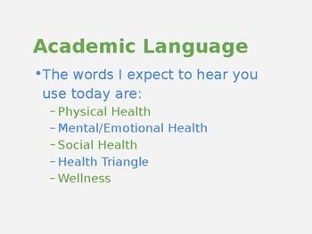 6th Grade Health Lesson #1 - The Health Traingle