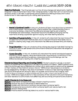 6th Grade Health Syllabus - Example
