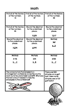 Common Core 6th Grade Homework Packet Week #1