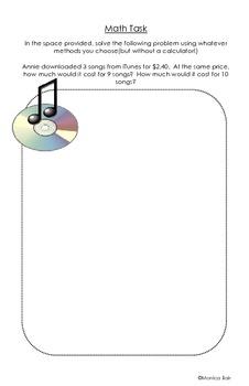 Common Core 6th Grade Homework Packet Week #2