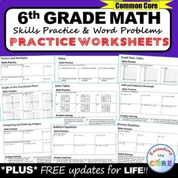 6th Grade Homework Math Worksheets Skills Practice Word Problems