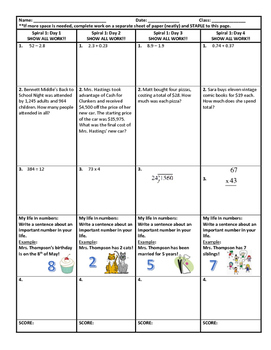 6th Grade Homework - YEAR BUNDLE!