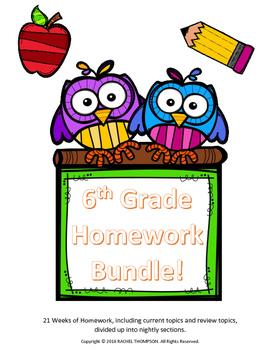 6th Grade Homework - YEAR BUNDLE!