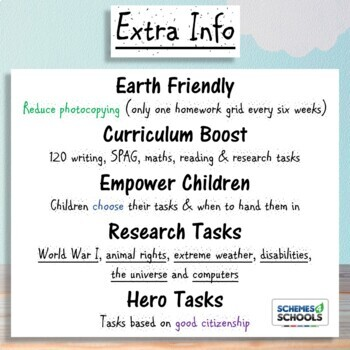 6th Grade Homework (Yearly Pack): Writing, math, reading, SPAG & research topics