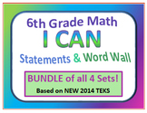 6th Grade I CAN and Word Wall Texas BUNDLE