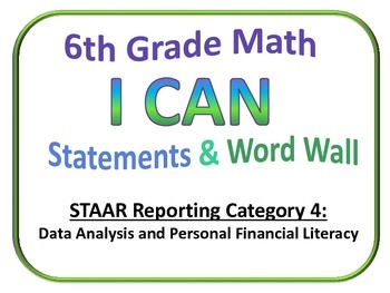 6th Grade I Can Math and Word Wall (Set 4 of 4) Texas