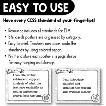 """6th Grade """"I Can"""" Posters CCSS ELA Common Core Standards"""