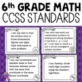 """6th Grade """"I Can"""" Posters CCSS MATH Common Core Standards"""