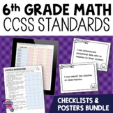"""6th Grade """"I Can"""" Posters & Checklists CCSS MATH Standards Bundle"""