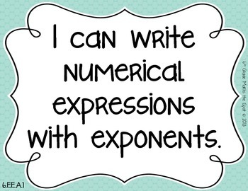 6th Grade I Can Posters & Key Vocab Cards CCSS Math: Expressions and Equations**