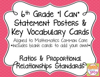 6th Grade I Can Posters & Key Vocab Cards CCSS Math: Ratios and Proportions**