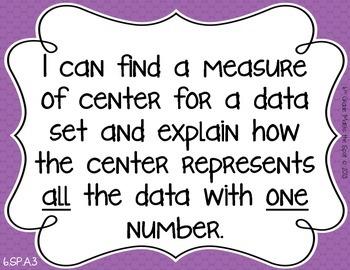 6th Grade I Can Posters & Key Vocab CCSS Math: Statistics and Probability**