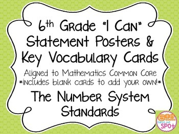 6th Grade I Can Posters & Word Wall Cards CCSS Math: The Number System**