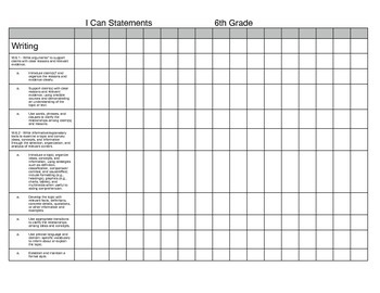 6th Grade I Can Statement Assessment Chart for ELA