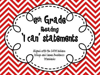 6th Grade 'I Can' Statements Indiana Standards
